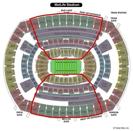 New York Jets - MetLife Stadium plattegrond