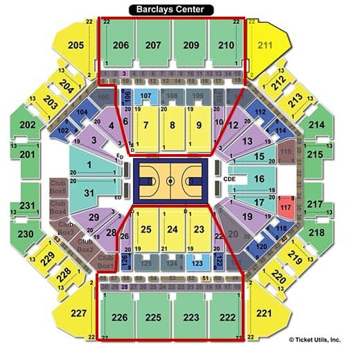 Brooklyn Nets - Barclays Center plattegrond
